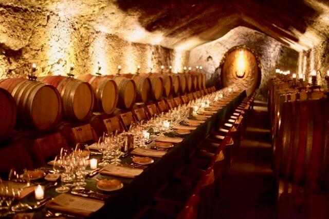 team dinner in wine cellar